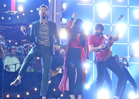 LAS VEGAS, NV - APRIL 02:  (L-R) Musicians Charles Kelley, Hillary Scott, and Dave Haywood of musical group Lady Antebellum perform onstage at the 52nd Academy Of Country Music Awards at T-Mobile Arena on April 2, 2017 in Las Vegas, Nevada.  (Photo by Jeff Kravitz/ACMA2017/FilmMagic for ACM)