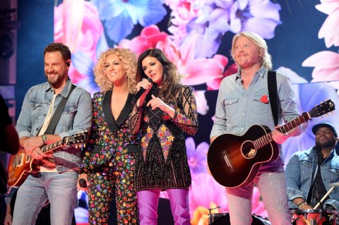 LAS VEGAS, NV - APRIL 02:  (L-R) Recording artists Jimi Westbrook, Kimberly Schlapman, Karen Fairchild, and Phillip Sweet of music group Little Big Town perform onstage during the 52nd Academy Of Country Music Awards at T-Mobile Arena on April 2, 2017 in Las Vegas, Nevada.  (Photo by Kevin Mazur/ACMA2017/Getty Images for ACM)