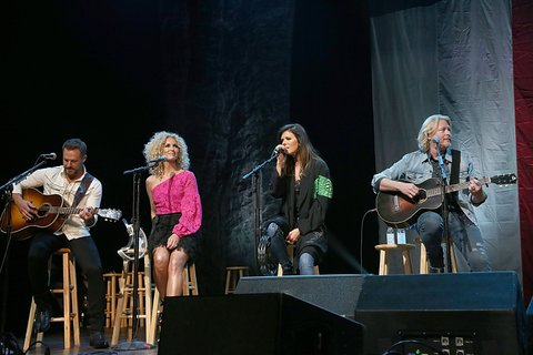 AUSTIN, TEXAS - APRIL 21:  L-R) Jimi Westbrook, Kimberly Roads Schlapman, Karen Fairchild and Philip Sweet of Little Big Town perform in concert during the the Mack, Jack & McConaughey Jack Ingram & Friends event at ACL-Live on April 21, 2017 in Austin, Texas.  (Photo by Gary Miller/Getty Images)