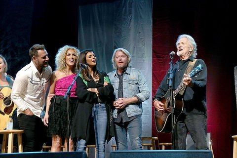 AUSTIN, TEXAS - APRIL 21:  L-R) Jimi Westbrook, Kimberly Roads Schlapman, Karen Fairchild and Philip Sweet of Little Big Town and Kris Kristofferson perform in concert during the the Mack, Jack & McConaughey Jack Ingram & Friends event at ACL-Live on April 21, 2017 in Austin, Texas.  (Photo by Gary Miller/Getty Images)