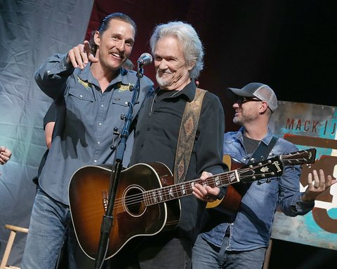 AUSTIN, TEXAS - APRIL 21:  Matthew McConaughey (L) and Kris Kristofferson on stage during the the Mack, Jack & McConaughey Jack Ingram & Friends event at ACL-Live on April 21, 2017 in Austin, Texas.  (Photo by Gary Miller/Getty Images)