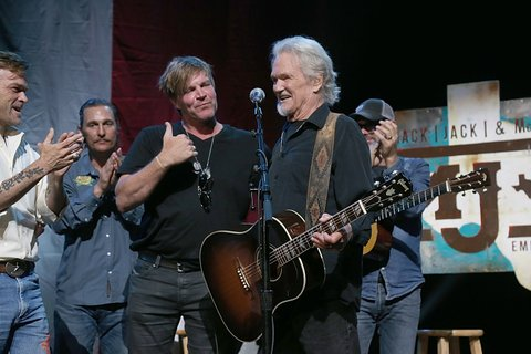 AUSTIN, TEXAS - APRIL 21:  (L- R) Waylon Payne, Matthew McConaughey, Jack Ingram and Kris Kristofferson perform in concert during the the Mack, Jack & McConaughey Jack Ingram & Friends event at ACL-Live on April 21, 2017 in Austin, Texas.  (Photo by Gary Miller/Getty Images)
