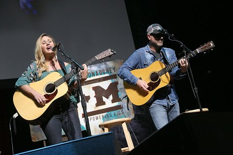 AUSTIN, TEXAS - APRIL 21:  Jessi Alexander (L) and Jon Randall perform in concert during the the Mack, Jack & McConaughey Jack Ingram & Friends event at ACL-Live on April 21, 2017 in Austin, Texas.  (Photo by Gary Miller/Getty Images)