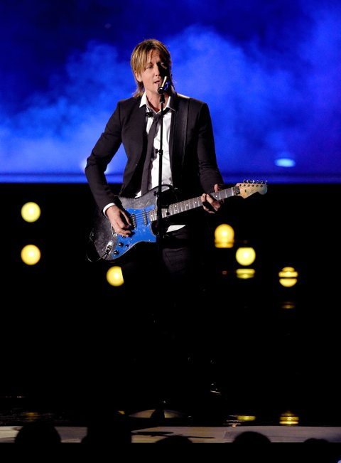 LAS VEGAS, NV - APRIL 02:  Recording artist Keith Urban performs onstage during the 52nd Academy Of Country Music Awards at T-Mobile Arena on April 2, 2017 in Las Vegas, Nevada.  (Photo by Ethan Miller/Getty Images)