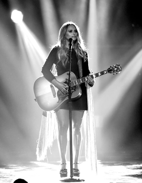 LAS VEGAS, NV - APRIL 02:  (EDITORS NOTE: Image has been converted to black and white.) Recording artist Miranda Lambert performs onstage during the 52nd Academy Of Country Music Awards at T-Mobile Arena on April 2, 2017 in Las Vegas, Nevada.  (Photo by Ethan Miller/Getty Images)