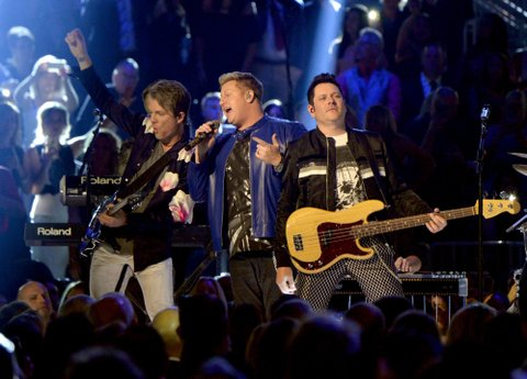 LAS VEGAS, NV - APRIL 02:  (L-R) Recording artists Joe Don Rooney, Gary LeVox, and Jay DeMarcus of music group Rascal Flatts perform onstage during the 52nd Academy Of Country Music Awards at T-Mobile Arena on April 2, 2017 in Las Vegas, Nevada.  (Photo by Kevin Mazur/ACMA2017/Getty Images for ACM)