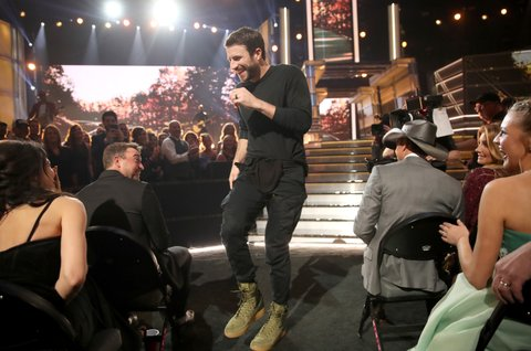 LAS VEGAS, NV - APRIL 02:  Singer Sam Hunt performs onstage during the 52nd Academy Of Country Music Awards at T-Mobile Arena on April 2, 2017 in Las Vegas, Nevada.  (Photo by Chris Polk/ACMA2017/Getty Images for ACM)