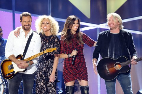 AUSTIN, TX - MAY 06:  Philip Sweet, Karen Fairchild, Jimi Westbrook and Kimberly Schlapman of Little Big Town perform onstage during the 2017 iHeartCountry Festival held at The Frank Erwin Center on May 6, 2017 in Austin, Texas.  (Photo by Michael Tran/FilmMagic)