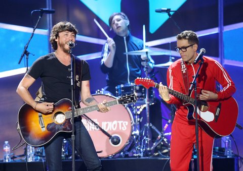 AUSTIN, TX - MAY 06:  Chris Janson (L) and Bobby Bones perform onstage during the 2017 iHeartCountry Festival held at The Frank Erwin Center on May 6, 2017 in Austin, Texas.  (Photo by Michael Tran/FilmMagic)