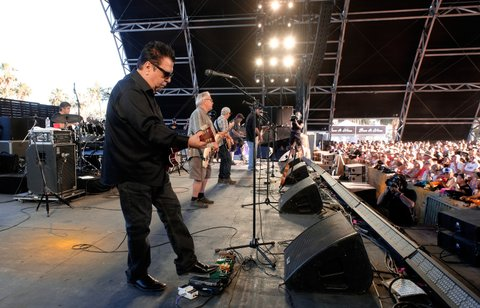 INDIO, CA - APRIL 30:  (L-R) Musicians Enrique Gonzalez, Cesar Rosas,  Conrad Lozano, Louie Perez, Steve Berlin, and David Hidalgo of Los Lobos perform on the Palomino Stage during day 3 of 2017 Stagecoach California's Country Music Festival at the Empire Polo Club on April 30, 2017 in Indio, California.  (Photo by Frazer Harrison/Getty Images for Stagecoach)