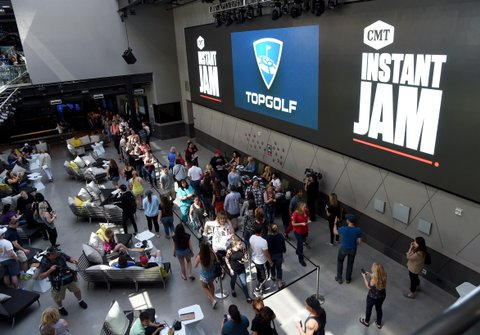 LAS VEGAS, NV - MARCH 30:  Guests attend the CMT Instant Jam: Brett Eldredge at Topgolf Las Vegas on March 30, 2017 in Las Vegas, Nevada.  (Photo by Rick Diamond/Getty Images for CMT)