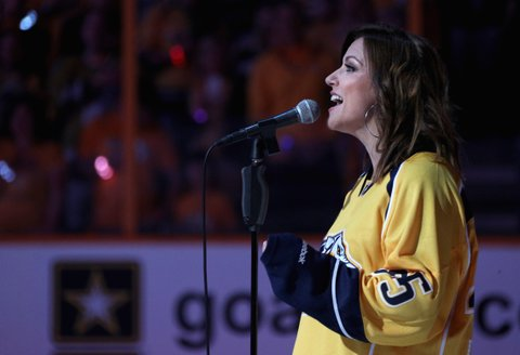 NASHVILLE, TN - JUNE 03:  Singer Martina McBride performs the national anthem before Game Three of the 2017 NHL Stanley Cup Final between the Pittsburgh Penguins and the Nashville Predators at Bridgestone Arena on June 3, 2017 in Nashville, Tennessee.  (Photo by Dave Sandford/NHLI via Getty Images)