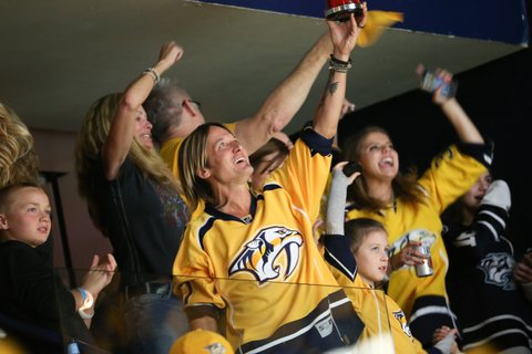 NASHVILLE, TN - JUNE 03:  Keith Urban attend the Stanley Cup Finals Game 3 Nashville Predators Vs. Pittsburgh Penguins at Bridgestone Arena on June 3, 2017 in Nashville, Tennessee.  (Photo by Terry Wyatt/Getty Images)