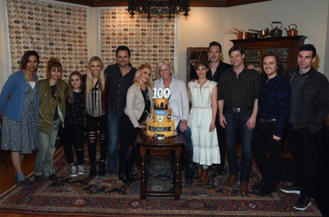 NASHVILLE, TN - MARCH 16: Nashville cast members Rhiannon Giddens, Odessa Aldon, Lennon Stella, Maisy Stella, Charles Esten, Hayden Panettier, Creator/Executive producer Callie Khori, Cast members Sam Palladio, Clare Bowen, Chris Carmack, Johathan Jackson and Cameron Scoggins attend NASHVILLE 100th Episode Celebration on March 16, 2017 in Nashville, Tennessee. (Photo by Rick Diamond/Getty Images for CMT)