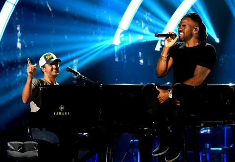 NASHVILLE, TN - JUNE 05:  Singer-songwriters Luke Bryan and Jason Derulo perform onstage during the 2017 CMT Music Awards - Rehearsals at Music City Convention Center on June 5, 2017 in Nashville, Tennessee.  (Photo by Rick Diamond/Getty Images for CMT)