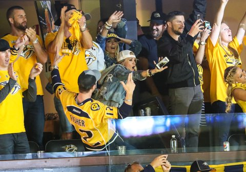 NASHVILLE, TN - JUNE 05:  Singer-songwriter Carrie Underwood attends the Stanley Cup Finals Game 4 Nashville Predators Vs. Pittsburgh Penguins at Bridgestone Arena at Bridgestone Arena on June 5, 2017 in Nashville, Tennessee.  (Photo by Terry Wyatt/Getty Images)