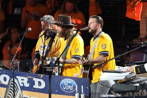NASHVILLE, TN - JUNE 05:  T.J. and John Osborne of 'Brothers Osborne' perform during the Stanley Cup Finals Game 4 Nashville Predators Vs. Pittsburgh Penguins at Bridgestone Arena at Bridgestone Arena on June 5, 2017 in Nashville, Tennessee.  (Photo by Terry Wyatt/Getty Images)