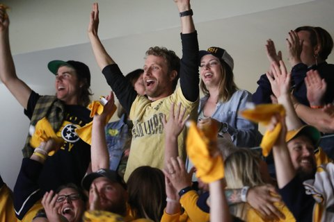 NASHVILLE, TN - JUNE 05:  Singer-songwriter Dierks Bentley attends the Stanley Cup Finals Game 4 Nashville Predators Vs. Pittsburgh Penguins at Bridgestone Arena at Bridgestone Arena on June 5, 2017 in Nashville, Tennessee.  (Photo by Terry Wyatt/Getty Images)