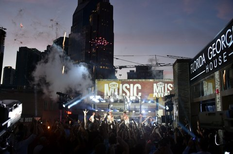 NASHVILLE, TN - JUNE 06:  Andrew Taggart of The Chainsmokers, Brian Kelley of Florida Georgia Line, Alex Pall of The Chainsmokers, and Tyler Hubbard of Florida Georgia Line perform onstage during a pretaped performance with The Chainsmokers and Florida Georgia Line the 2017 CMT Music awards at the  on June 6, 2017 in Nashville, Tennessee.  (Photo by Mike Coppola/Getty Images for CMT)