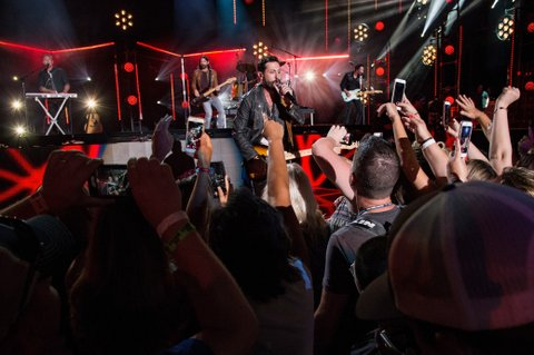 NASHVILLE, TN - JUNE 10:  (EDITORIAL USE ONLY) (L-R) Trevor Rosen, Geoff Sprung, Matthew Ramsey and Brad Tursi of Old Dominion perform during the 2017 CMA Music Festival on June 10, 2017 in Nashville, Tennessee.  (Photo by Erika Goldring/WireImage)