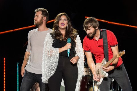NASHVILLE, TN - JUNE 10:  (EDITORIAL USE ONLY) (L-R) Charles Kelley, Hillary Scott and Dave Haywood of Lady Antebellum perform during the 2017 CMA Music Festival on June 10, 2017 in Nashville, Tennessee.  (Photo by Erika Goldring/WireImage)