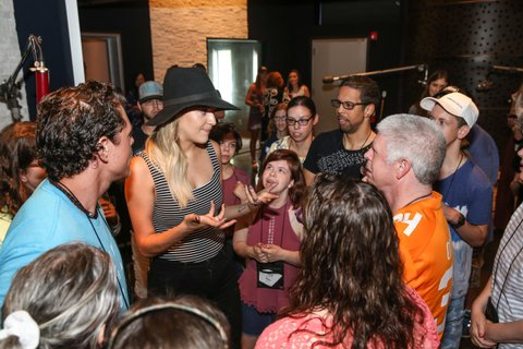 NASHVILLE, TN - JUNE 26:  Singer-songwriter Kelsea Ballerini joins ACM Lifting Lives music campers during Music Camp Studio Day at on June 26, 2017 in Nashville, Tennessee.  (Photo by Terry Wyatt/Getty Images for Academy of Country Music)