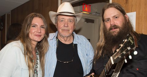 NASHVILLE, TN - AUGUST 16:  (L-R) Morgane Stapleton, Bobby Bare and Chris Stapleton gather for a photo backstage at Ryman Auditorium on August 16, 2016 in Nashville, Tennessee.  (Photo by Erika Goldring/Getty Images)