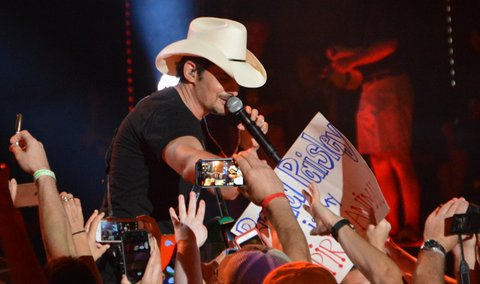 NASHVILLE, TN - JUNE 11:  (EDITORIAL USE ONLY)  Singer/songwriter Brad Paisley performs at Nissan Stadium during day 4 of the 2017 CMA Music Festival on June 11, 2017 in Nashville, Tennessee.  (Photo by Mindy Small/FilmMagic)