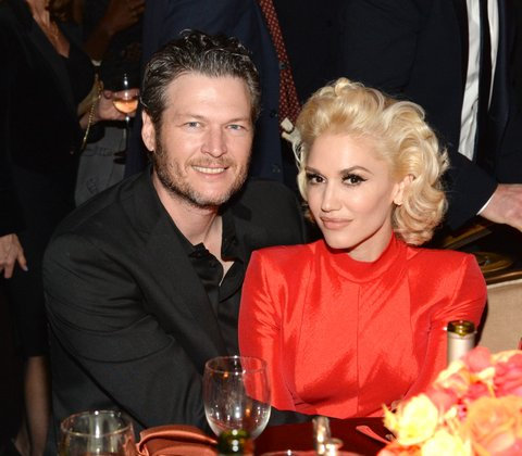 BEVERLY HILLS, CA - FEBRUARY 14:  Recording artists Blake Shelton (L) and Gwen Stefani attend the 2016 Pre-GRAMMY Gala and Salute to Industry Icons honoring Irving Azoff at The Beverly Hilton Hotel on February 14, 2016 in Beverly Hills, California.  (Photo by Kevin Mazur/WireImage)