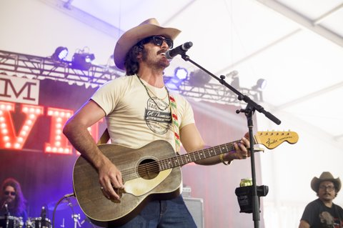 BROOKLYN, MI - JULY 22:  Mark Wystrach of the band Midland performs during Faster Horses Festival at Michigan International Speedway on July 22, 2017 in Brooklyn, Michigan.  (Photo by Erika Goldring/WireImage)