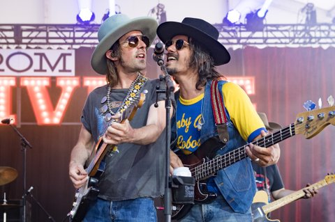 BROOKLYN, MI - JULY 22:  Jess Carson (L) and Cameron Duddy of the band Midland perform during Faster Horses Festival at Michigan International Speedway on July 22, 2017 in Brooklyn, Michigan.  (Photo by Erika Goldring/WireImage)