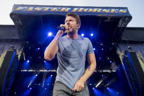 BROOKLYN, MI - JULY 23:  Brett Eldredge performs during Faster Horses Festival at Michigan International Speedway on July 23, 2017 in Brooklyn, Michigan.  (Photo by Erika Goldring/WireImage)