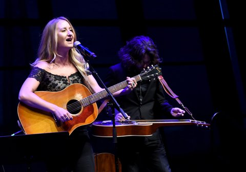 NASHVILLE, TN - AUGUST 22:  Margo Price performs Fist City onstage during the exhibition opening of Loretta Lynn: Blue Kentucky Girl at Country Music Hall of Fame and Museum on August 22, 2017 in Nashville, Tennessee.  (Photo by Rick Diamond/Getty Images for Country Music Hall Of Fame & Museum)