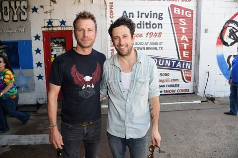 FORT WORTH, TX - APRIL 18:  Recording artists Dierks Bentley (L) and Will Hoge attend the ACM Charity Motorcycle Ride & Concert from Strokers Dallas to Maverick Harley Davidson during the 50th Academy of Country Music Awards on April 18, 2015 in Fort Worth, Texas.  (Photo by Jason Merritt/ACM2015/Getty Images for dcp)