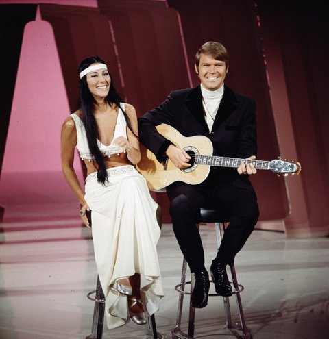 LOS ANGELES - JANUARY 1: Cher performs with Glen Campbell on THE GLEN CAMPBELL GOODTIME HOUR.  Image dated 1969. (Photo by CBS via Getty Images)
