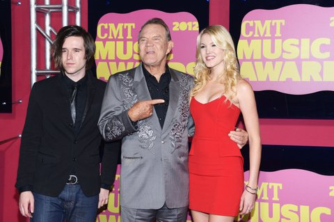 NASHVILLE, TN - JUNE 06:  Cal Campbell, Glen Campbell and Ashley Campbell arrive at the 2012 CMT Music awards at the Bridgestone Arena on June 6, 2012 in Nashville, Tennessee.  (Photo by Michael Loccisano/WireImage)