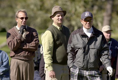 400356 08: Actors Kevin Costner (L) Bill Murray (C) and singer Glen Campbell (R) wait their turn to putt at the 3M Celebrity Golf Challenge January 30, 2002 at Pebble Beach Golf Course in Pebble Beach, CA. (Photo by Justin Sullivan/Getty Images)