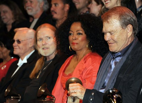 LOS ANGELES, CA - FEBRUARY 11:  GRAMMY Lifetime Achievement Award winners George Jones, Gregg Allman, Diana Ross and Glen Campbell follwing The 54th Annual GRAMMY Awards -  Special Merit Awards Ceremony at The Wilshire Ebell Theatre on February 11, 2012 in Los Angeles, California.  (Photo by Mark Sullivan/WireImage)
