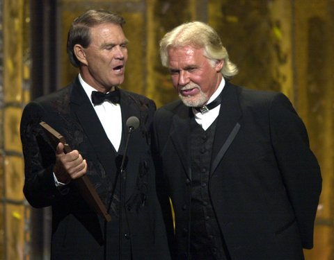 Glen Campbell & Kenny Rogers during The 36th Annual Academy of Country Music Awards - Show at Universal Amphitheater in Universal City, California, United States. (Photo by M. Caulfield/WireImage)