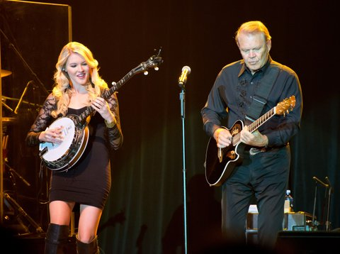 ALBUQUERQUE, NM - JULY 29:  Glen Campbell performs on stage with his daughter Ashley during his Goodbye Tour at Route 66 Casino's Legends Theater on July 29, 2012 in Albuquerque, New Mexico.  (Photo by Steve Snowden/Getty Images)