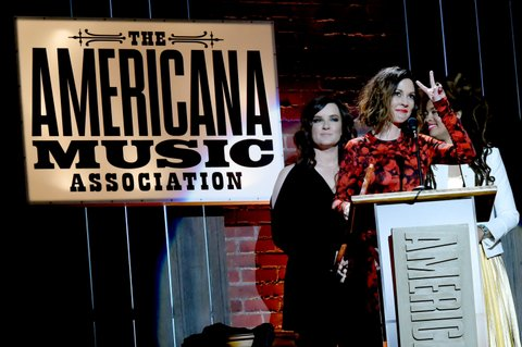 NASHVILLE, TN - SEPTEMBER 13:  Brandy Clark, Amanda Shires, and Valerie June speak onstage during the 2017 Americana Music Association Honors & Awards  on September 13, 2017 in Nashville, Tennessee.  (Photo by Rick Diamond/Getty Images for Americana Music)