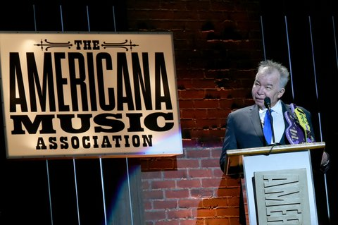 NASHVILLE, TN - SEPTEMBER 13:  John Prine speaks onstage during the 2017 Americana Music Association Honors & Awards  on September 13, 2017 in Nashville, Tennessee.  (Photo by Rick Diamond/Getty Images for Americana Music)
