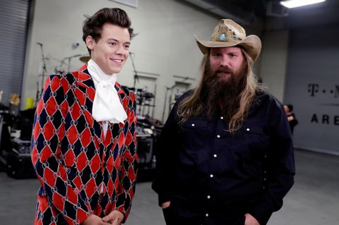 LAS VEGAS, NV - SEPTEMBER 22:  Harry Styles (L) and Chris Stapleton attend the 2017 iHeartRadio Music Festival at T-Mobile Arena on September 22, 2017 in Las Vegas, Nevada.  (Photo by Isaac Brekken/Getty Images for iHeartMedia)