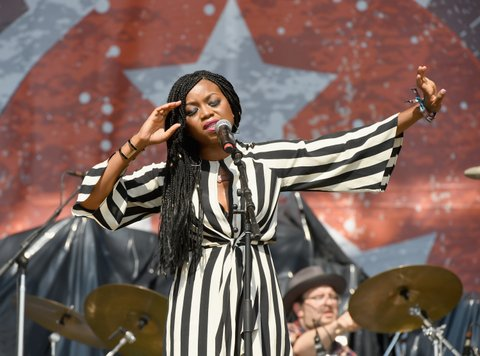 FRANKLIN, TN - SEPTEMBER 23:  Ruby Amanfu perfroms with Steelism on the Synchrony Financial Midnight Sun Stage at the 2017 Pilgrimage Music and Cultural Festival on September 24, 2017 in Franklin, Tennessee.  (Photo by Erika Goldring/Getty Images for Pilgrimage Music & Cultural Festival)