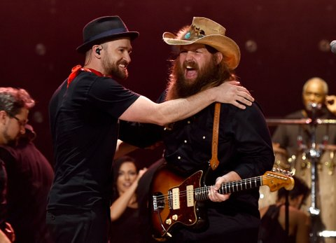 FRANKLIN, TN - SEPTEMBER 23:  Musicians Justin Timberlake, left, and Chris Stapleton perform at the 2017 Pilgrimage Music & Cultural Festival on September 23, 2017 in Franklin, Tennessee.  (Photo by John Shearer/Getty Images for M2M Construction)