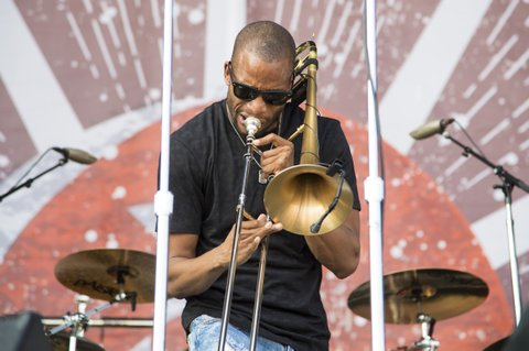 FRANKLIN, TN - SEPTEMBER 23:  Trombone Shorty performs during the Pilgrimage Music & Cultural Festival 2017 on September 23, 2017 in Franklin, Tennessee.  (Photo by Erika Goldring/Getty Images for Pilgrimage Music & Cultural Festival)