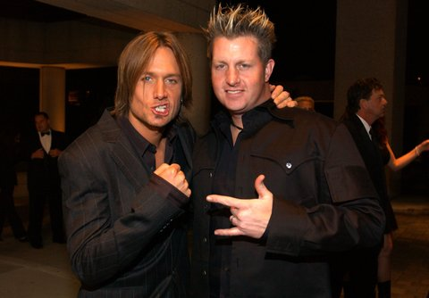 Keith Urban and Gary LeVox of Rascal Flatts during 2003 BMI Country Music Awards at BMI Nashville in Nashville, Tennessee, United States. (Photo by R. Diamond/WireImage)