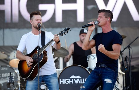 LAS VEGAS, NV - SEPTEMBER 29:  Recording artists Curtis Rempel (L) and Brad Rempel of High Valley perform during the Route 91 Harvest country music festival at the Las Vegas Village on September 29, 2017 in Las Vegas, Nevada.  (Photo by David Becker/Getty Images)