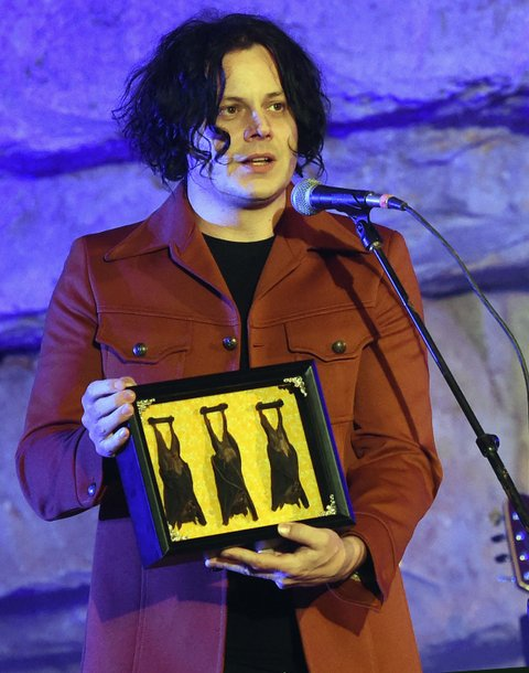 MCMINNVILLE, TN - SEPTEMBER 29:  Singer/Songwriter Host Jack White displays a gift of Cave Bats during Tennessee Tourism & Third Man Records 333 Feet Underground at Cumberland Caverns on September 29, 2017 in McMinnville, Tennessee.  (Photo by Rick Diamond/Getty Images for Tennessee Tourism)