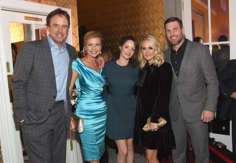 BRENTWOOD, TN - OCTOBER 24: (L-R) Comedian Kevin Nealon, actress Susan Yeagley, actress Kimberly Williams Pasile, singer-songwriter Carrie Underwood and NHL player Mike Fisher attend Nashville Shines for Haiti benefiting Sean Penn's J/P Haitian relief organization featuring Tim McGraw hosted and underwritten by Johnathon Arndt and Newman Arndt at the Arndt Estate on October 24, 2017 in Brentwood, Tennessee.  (Photo by Rick Diamond/Getty Images for J/P Haitian Relief Organization)
